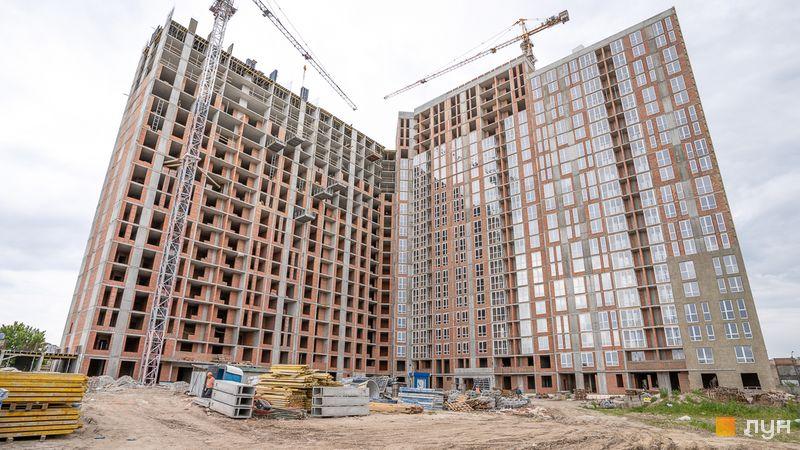 Ход строительства ЖК Причал 8, 1 дом (секции 1-4), май 2020