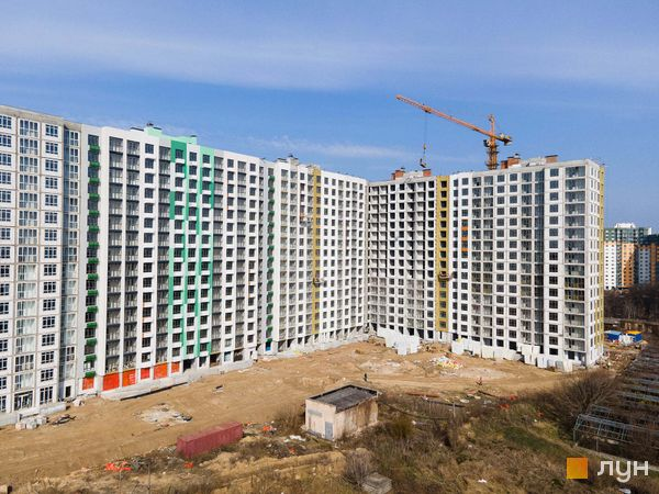 Ход строительства Місто Квітів. Парковий квартал, 4 дом (секции 10.1 - 10б.2), апрель 2021