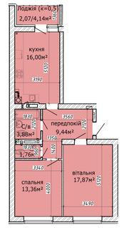 Похожая 2-комнатная 64.38м²