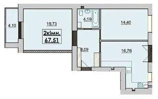 Похожая 2-комнатная 67.51м²