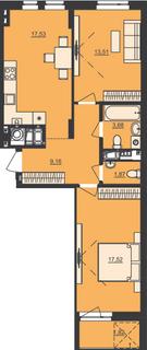 Схожа 2-кімнатна 65.09м²