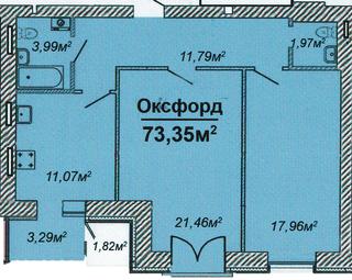Похожая 2-комнатная 73.35м²