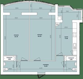 Похожая 2-комнатная 86.31м²