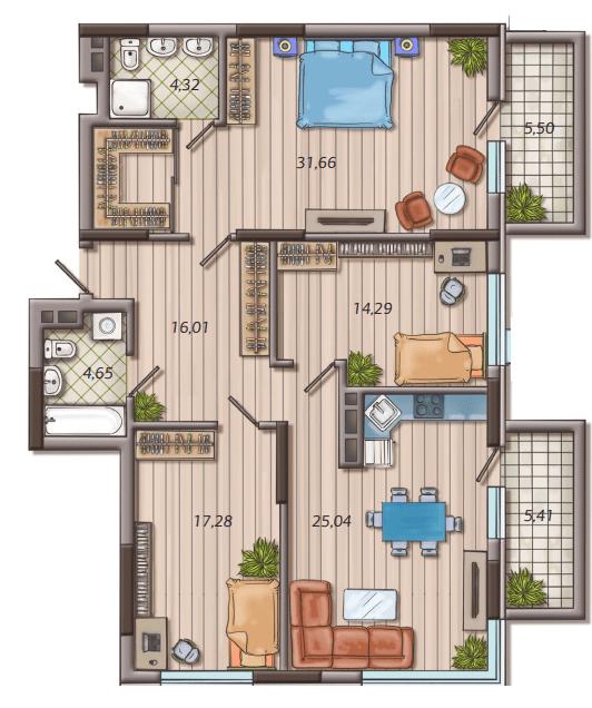 ЖК Французький квартал 2: планування 3-кімнатної квартири 116.52 м2, тип 3B
