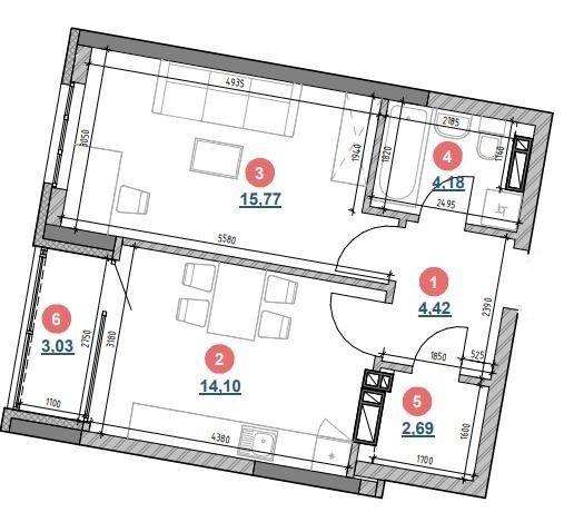 ЖК Берег Дніпра: планування 1-кімнатної квартири 44.19 м2, тип 1б