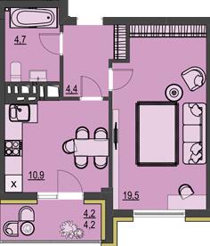 ЖК Prestige Apartments: планировка 1-комнатной квартиры 43.7 м2, тип 1Е