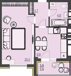 ЖК Prestige Apartments: планировка 1-комнатной квартиры 42.1 м2, тип 1Д