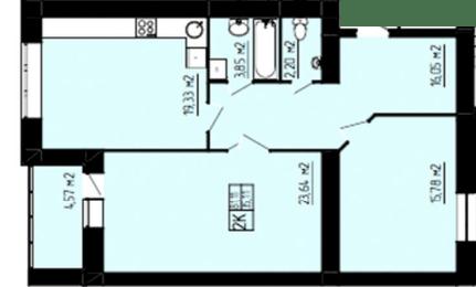 ЖК Амстердам: планировка 2-комнатной квартиры 81.11 м2, тип 2-81.11