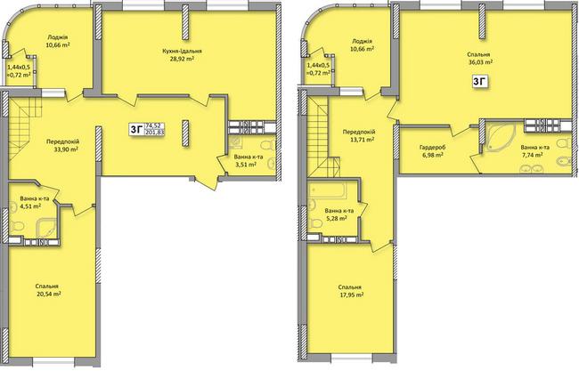 ЖК на Кондратюка: планування дворівневої квартири 201.83 м2, тип 3г