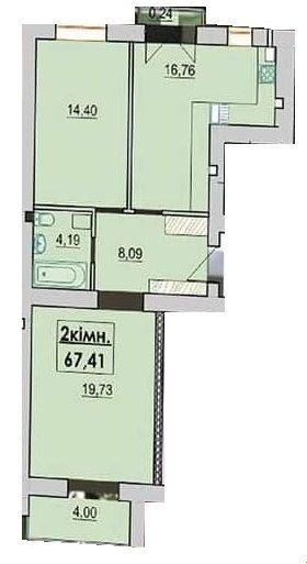 ЖК Квартал Лемковский: планировка 2-комнатной квартиры 67.41 м2, тип 2-67.41