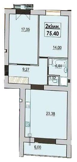 ЖК Квартал Лемковский: планировка 2-комнатной квартиры 75.4 м2, тип 2-75.4