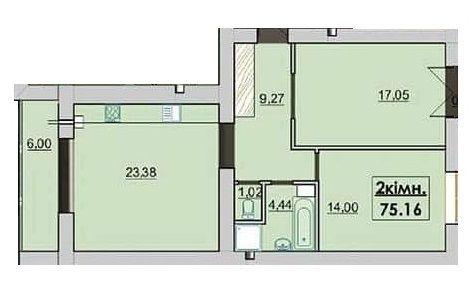 ЖК Квартал Лемковский: планировка 2-комнатной квартиры 75.16 м2, тип 2-75.16