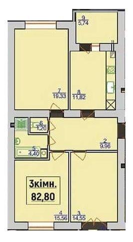 ЖК Квартал Лемковский: планировка 3-комнатной квартиры 82.8 м2, тип 3-82.8