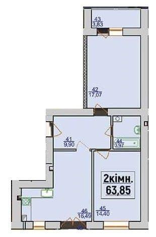 ЖК Квартал Лемковский: планировка 2-комнатной квартиры 63.85 м2, тип 2-63.85