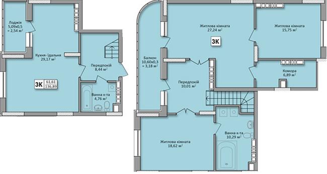 ЖК на Кондратюка: планування дворівневої квартири 136.89 м2, тип 3К