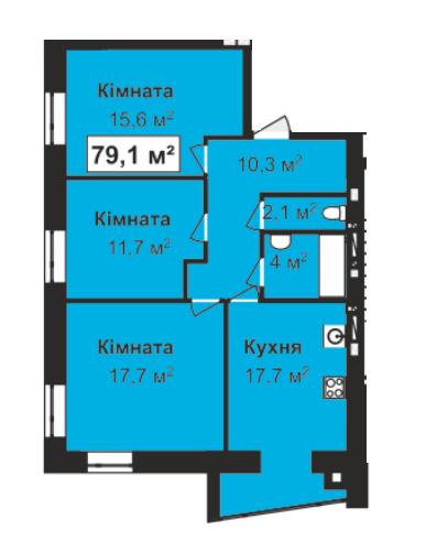 ЖК Перлина Проскурова: планировка 3-комнатной квартиры 79.1 м2, тип 3-79.1