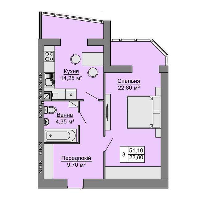 ЖК Сучасне житло: планування 1-кімнатної квартири 51.1 м2, тип 1-51.10