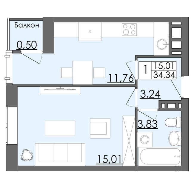 ЖК Родинна казка: планировка 1-комнатной квартиры 34.34 м2, тип Тип 1
