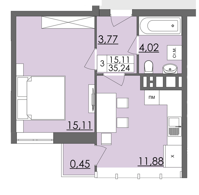 ЖК Родинна казка: планировка 1-комнатной квартиры 35.24 м2, тип Тип 3