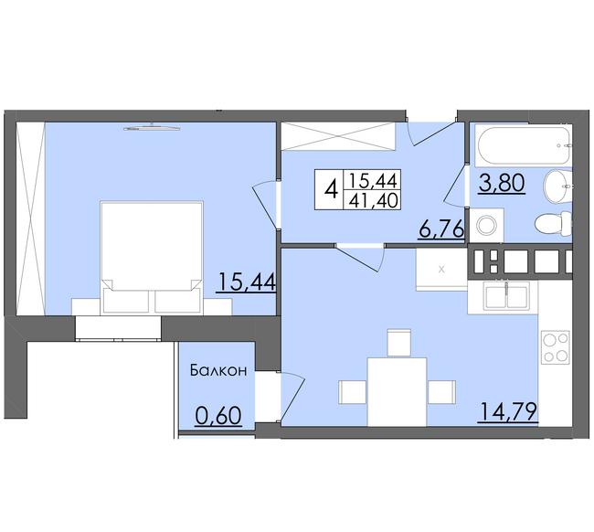 ЖК Родинна казка: планировка 1-комнатной квартиры 41.4 м2, тип Тип 4