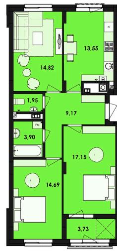 ЖК Семицвіт: планування 3-кімнатної квартири 78.96 м2, тип 3-78.96