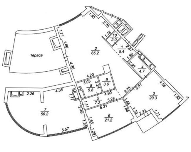 ЖК Busov Hill: планування 4-кімнатної квартири 206.1 м2, тип 206.1