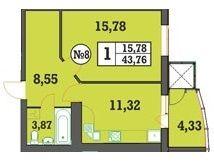 ЖК Над Бугом: планировка 1-комнатной квартиры 43.76 м2, тип 1-43.76
