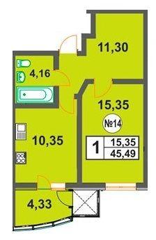 ЖК Над Бугом: планировка 1-комнатной квартиры 45.49 м2, тип 1-45.49