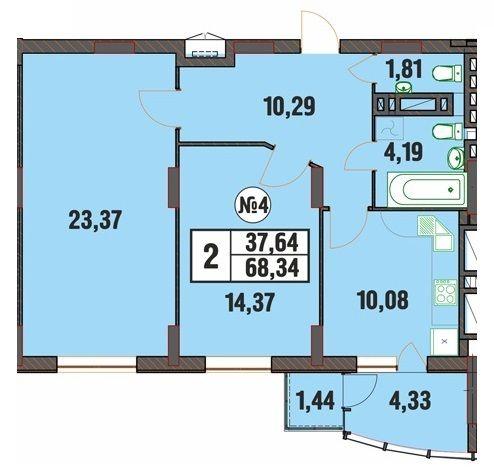 ЖК Над Бугом: планировка 2-комнатной квартиры 68.34 м2, тип 2-68.34