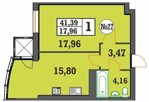 ЖК Над Бугом: планировка 1-комнатной квартиры 41.39 м2, тип 1-41.39