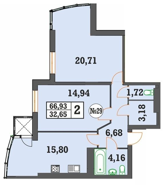 ЖК Над Бугом: планування 2-кімнатної квартири 66.93 м2, тип 2-66.93