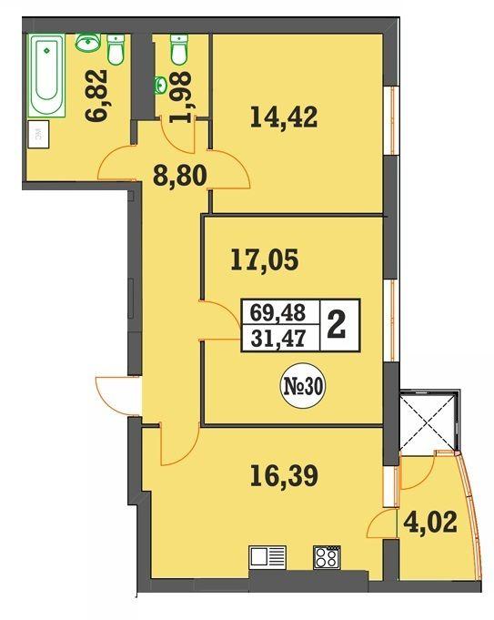 ЖК Над Бугом: планировка 2-комнатной квартиры 69.48 м2, тип 2-69.48