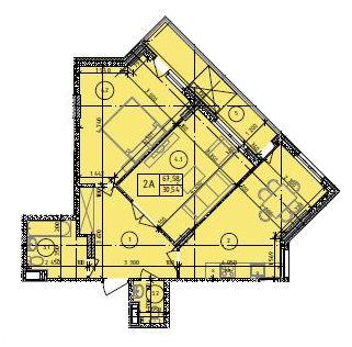 ЖК Маргарита: планування 2-кімнатної квартири 67.58 м2, тип 2-67.58