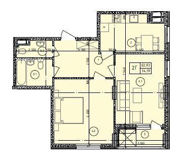 ЖК Маргарита: планування 2-кімнатної квартири 63.93 м2, тип 2-63.93
