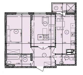 ЖК Маргарита: планування 2-кімнатної квартири 63.84 м2, тип 2-63.84