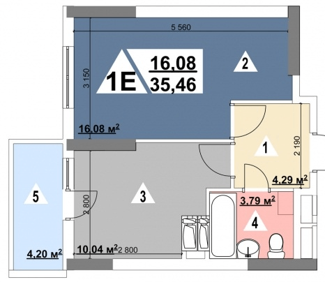 ЖК Перспектива: планування 1-кімнатної квартири 35.46 м2, тип 1-35.46