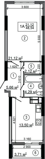 ЖК НебоSky: планування 1-кімнатної квартири 48.54 м2, тип 1А