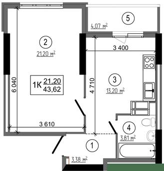 ЖК НебоSky: планування 1-кімнатної квартири 43.62 м2, тип 1К