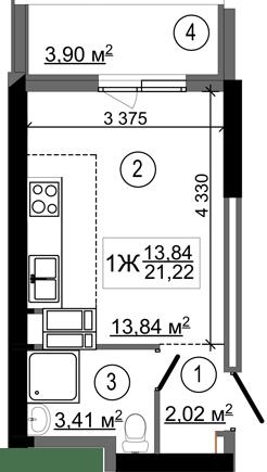 ЖК НебоSky: планування 1-кімнатної квартири 21.22 м2, тип 1Ж