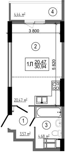 ЖК НебоSky: планування 1-кімнатної квартири 30.94 м2, тип 1Л