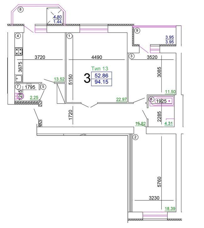 """Мікрорайон """"Академічний"""": планування 3-кімнатної квартири 94.15 м2, тип 3-94.15"""