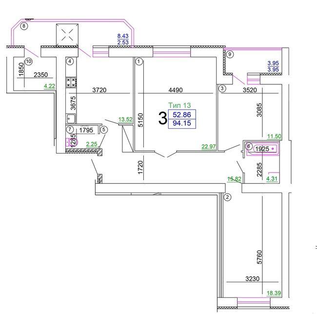 """Мікрорайон """"Академічний"""": планування 3-кімнатної квартири 99.46 м2, тип 3-99.46"""