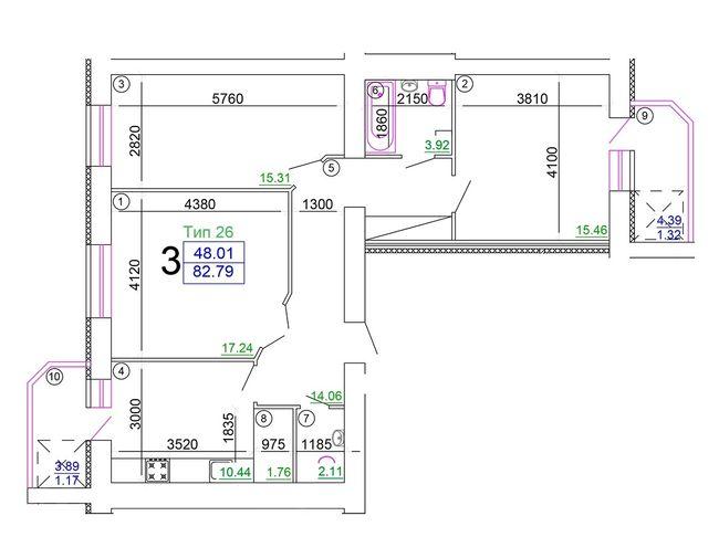 """Мікрорайон """"Академічний"""": планування 3-кімнатної квартири 82.79 м2, тип 3-82.79"""