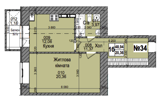 ул. Коцюбинского, 9а: планировка 1-комнатной квартиры 48.94 м2, тип 1б