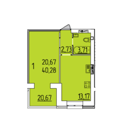 ЖК Набережний квартал: планування 1-кімнатної квартири 40.28 м2, тип 1-40.28