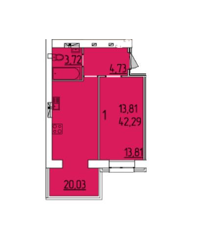 ЖК Набережний квартал: планування 1-кімнатної квартири 42.29 м2, тип 1-42.29