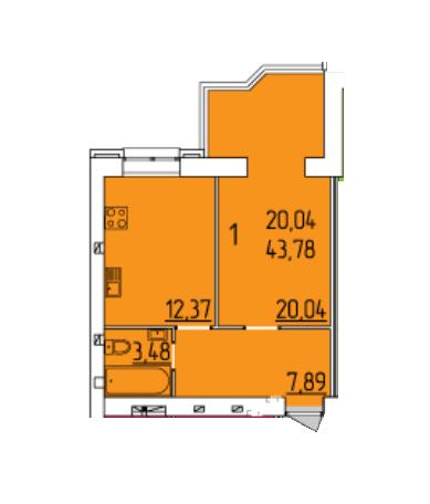 ЖК Набережний квартал: планування 1-кімнатної квартири 43.78 м2, тип 1-43.78
