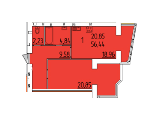 ЖК Набережний квартал: планування 1-кімнатної квартири 56.44 м2, тип 1-56.44