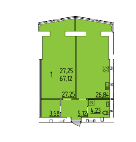 ЖК Набережний квартал: планування 1-кімнатної квартири 67.12 м2, тип 1-67.12