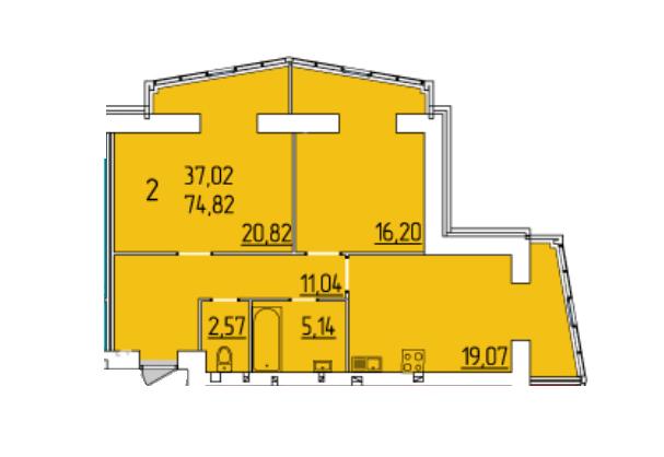 ЖК Набережный квартал: планировка 2-комнатной квартиры 74.82 м2, тип 2-74.82